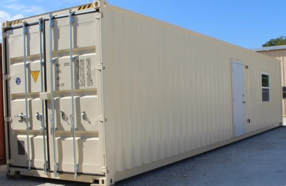 40′ High Cube  Refurbished Container With Fresh Paint, Man Door & Windows.